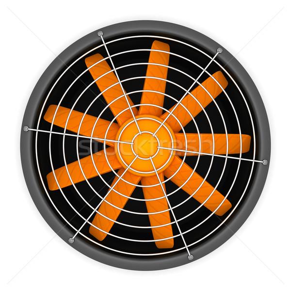 Fan 3D ventilator oranje geïsoleerd witte Stockfoto © timbrk