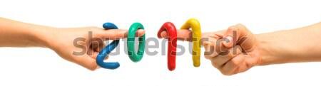 Plasticine figures 2011 Stock photo © timbrk
