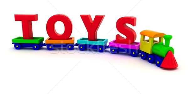 Tren oyuncaklar kırmızı harfler oyuncak bilgisayar Stok fotoğraf © timbrk