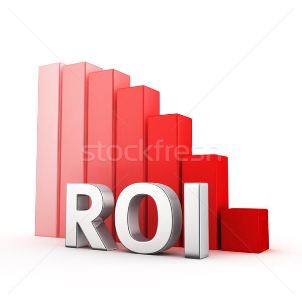 Csökkentés roi mozog lefelé piros oszlopdiagram Stock fotó © timbrk