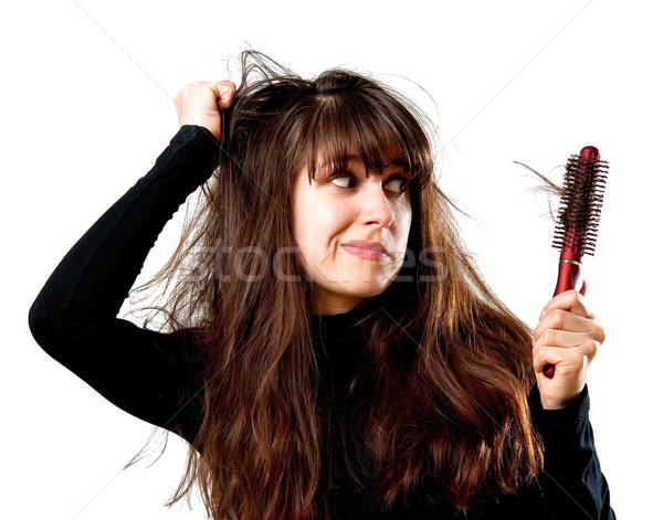 Kobieta złe włosy dzień młoda kobieta Zdjęcia stock © timbrk