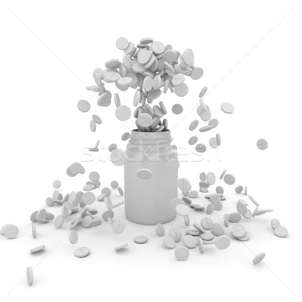 Uitbarsting witte medische groep plastic pil Stockfoto © timbrk