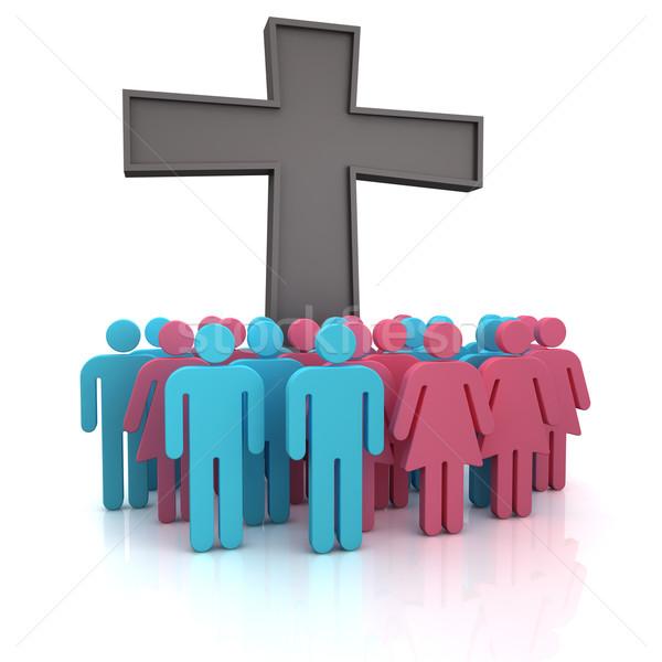 Kerk gemeente groep mensen permanente christelijke kruis Stockfoto © timbrk