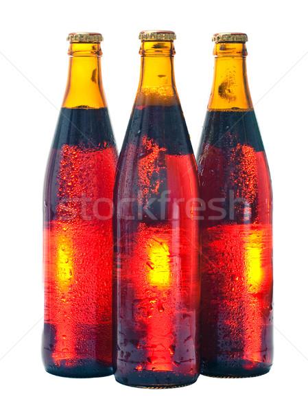 три пива бутылок янтарь изолированный белый Сток-фото © timbrk