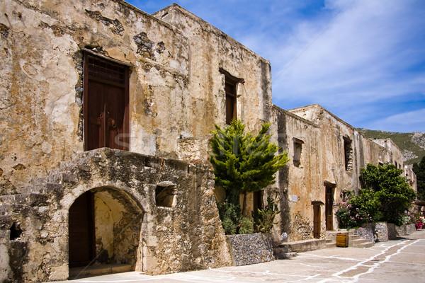 Antigo grego mosteiro fachada céu edifício Foto stock © timbrk