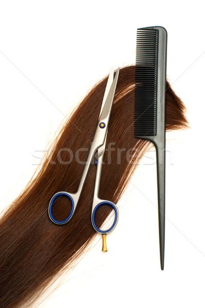 Capelli trattamento forbici spazzola per capelli lock isolato Foto d'archivio © timbrk