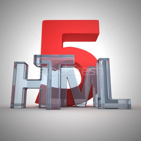 Html szó írott üveg levelek technológia Stock fotó © timbrk