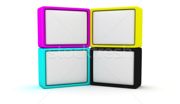 Foto stock: Cartazes · quatro · caixa · azul · grupo · preto