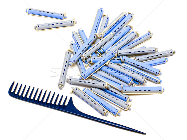 Handle rake and hair rollers Stock photo © timbrk