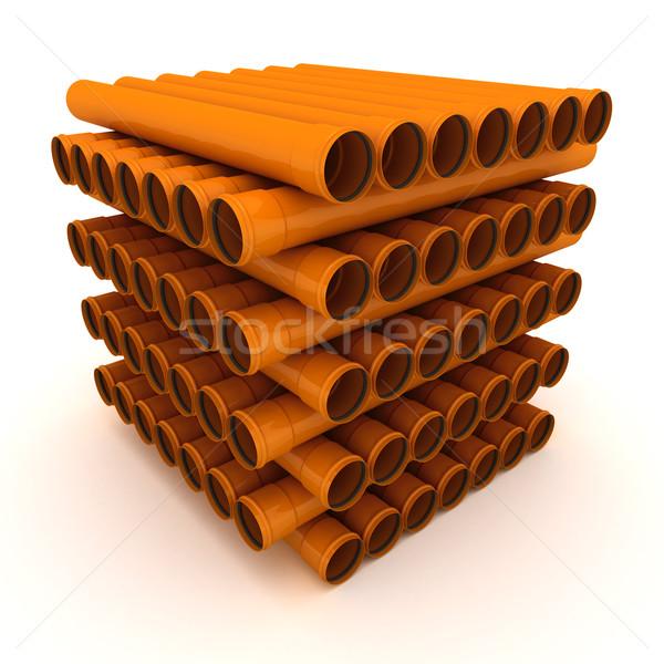Rur brązowy drenażu odizolowany biały Zdjęcia stock © timbrk