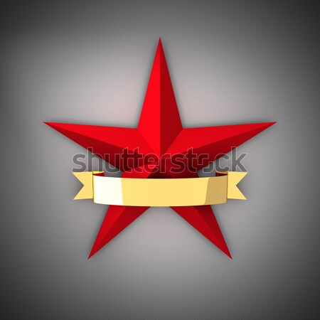 Red star and gold ribbon Stock photo © timbrk