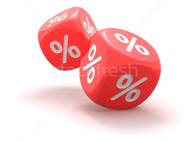 Stock photo: Dice with percent sign