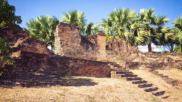 Ruined wall in Chiang Mai city Stock photo © timbrk