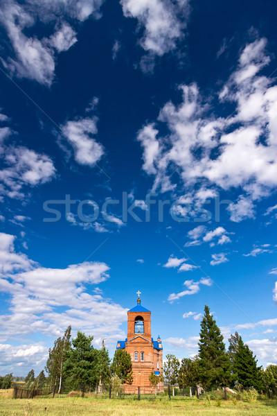 Foto stock: Ortodoxo · ruso · iglesia · verano · paisaje · cielo