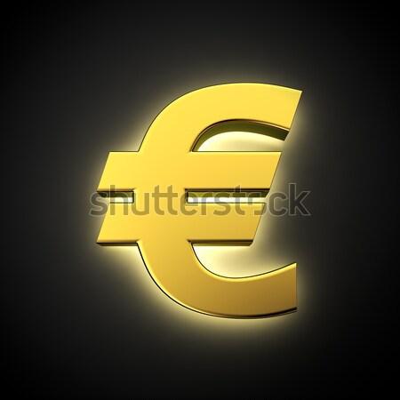 Büyük euro imzalamak mavi arka plan finanse Stok fotoğraf © timbrk