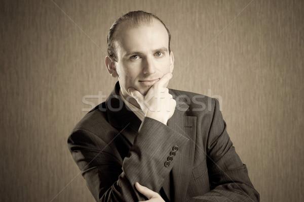 Melankoli tutum portre düşünme adam iş Stok fotoğraf © timbrk