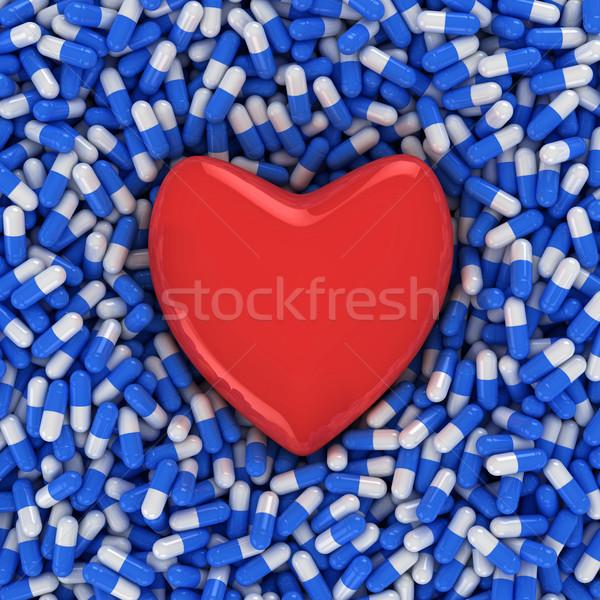 Foto d'archivio: Malattie · cardiache · cuore · blu · bianco · capsule