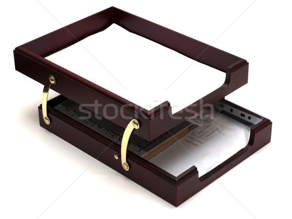 бумаги лоток изолированный белый служба Сток-фото © timbrk