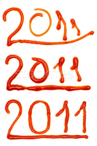 2011 napisany ketchup trzy inny czcionki Zdjęcia stock © timbrk