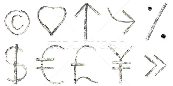 Símbolos sinais dólares isolado branco dinheiro Foto stock © timbrk