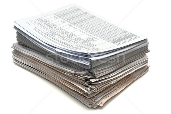 Dokumente Heap Buchhaltung isoliert weiß Hintergrund Stock foto © timbrk