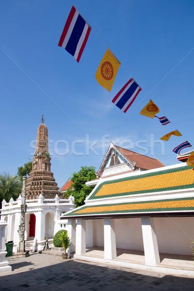 Budist manastır bayraklar tapınak Bangkok Tayland Stok fotoğraf © timbrk
