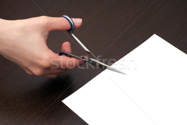 Cutting the paper Stock photo © timbrk
