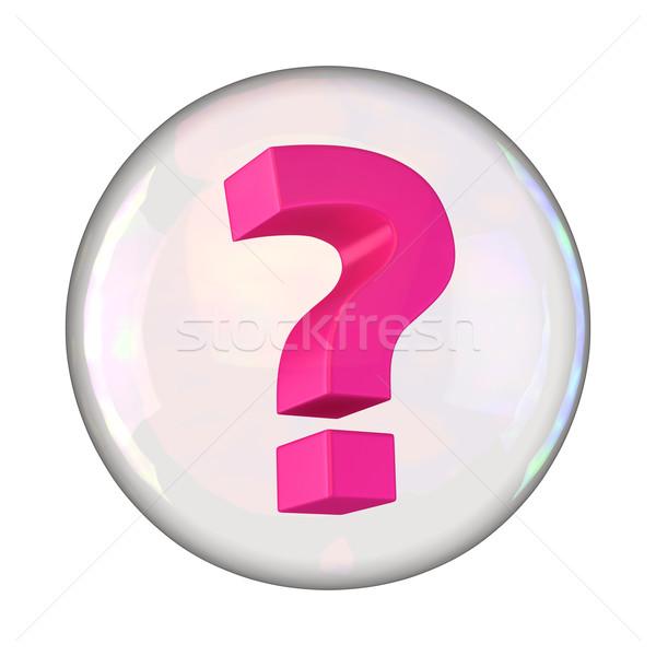 Kérdés buborék kérdőjel szappanbuborék fehér rózsaszín Stock fotó © timbrk