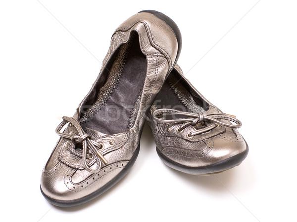 серебро обувь женщины изолированный белый фон Сток-фото © timbrk