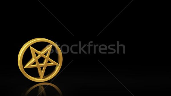 Nero slide oro simbolo riflessione copia spazio Foto d'archivio © timbrk