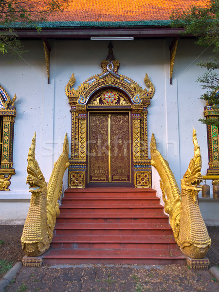 Entrance door of asian temple Stock photo © timbrk