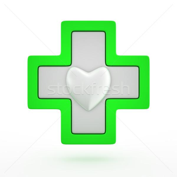 Kruis hart medische groene symbool gezondheid Stockfoto © timbrk