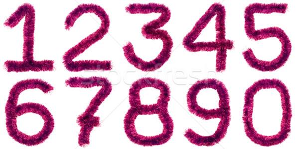 Piros számjegyek ibolya izolált fehér terv Stock fotó © timbrk