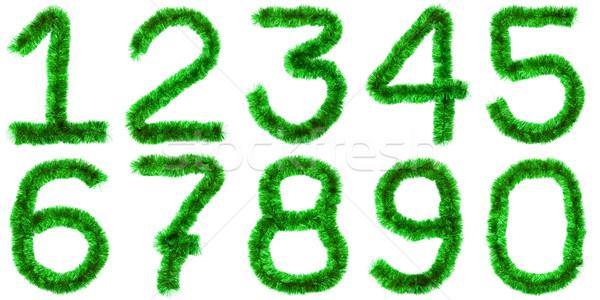 Zöld számjegyek izolált fehér terv szín Stock fotó © timbrk