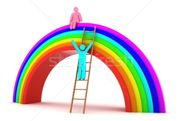 Foto stock: Data · arco-íris · menino · escalada · menina · 3D