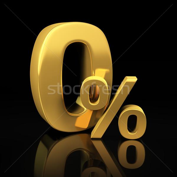 Zero percent gold letters Stock photo © timbrk