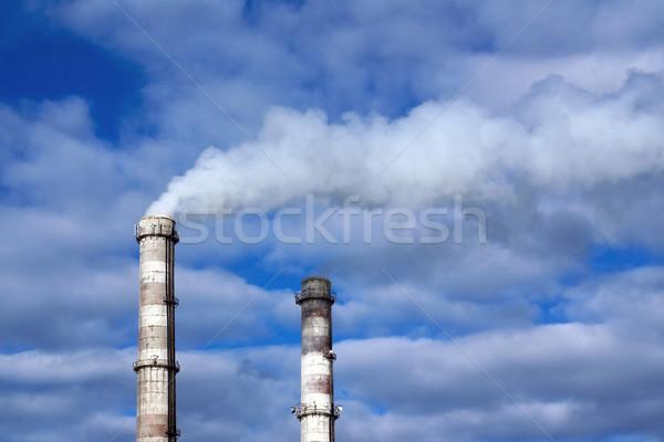 Сток-фото: два · завода · Трубы · курение · промышленности · белый