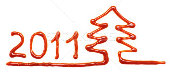 クリスマスツリー 2011 文字 塗料 色 トマト ストックフォト © timbrk