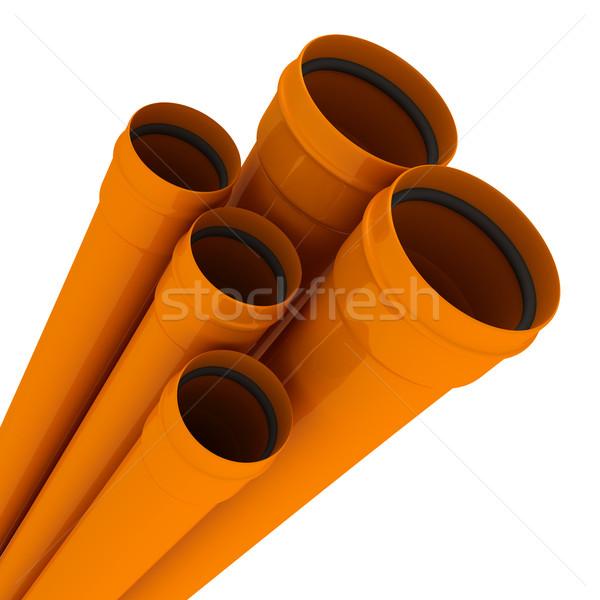 Stockfoto: Pijpen · oranje · drain · geïsoleerd · witte · industriële