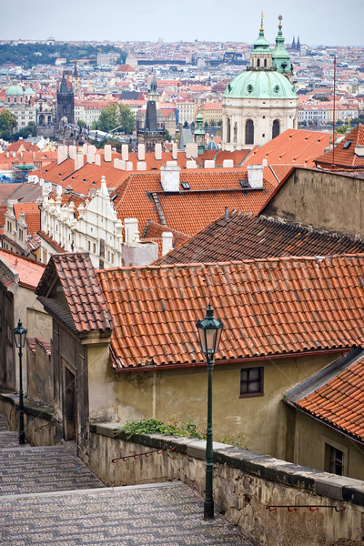 Barocco cupola santo cattedrale view Praga Foto d'archivio © timbrk