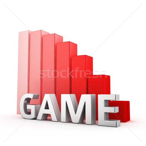 Csökkentés játék mozog lefelé piros oszlopdiagram Stock fotó © timbrk