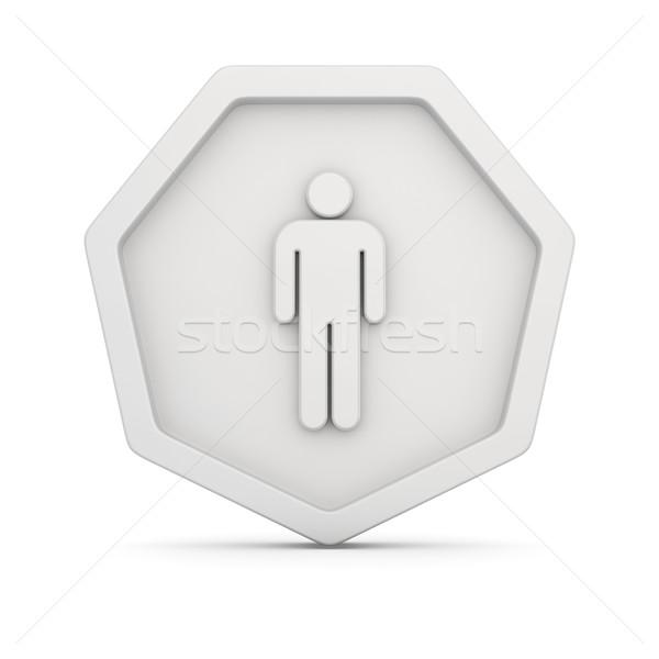Знак изображение мужчины Рисунок белый человека Сток-фото © timbrk