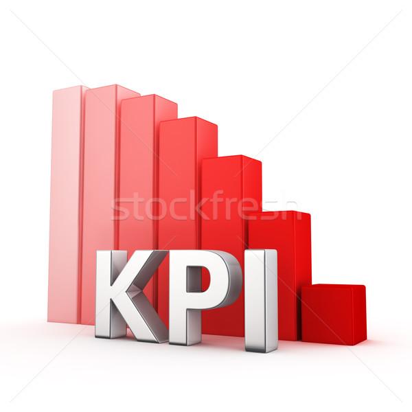 Csökkentés mozog lefelé piros oszlopdiagram fehér Stock fotó © timbrk