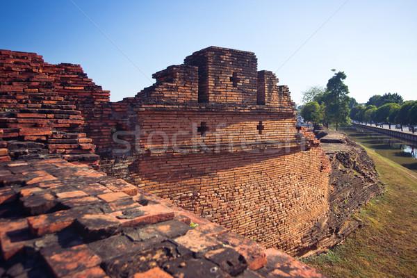Ancient brick wall in Chiang Mai City Stock photo © timbrk