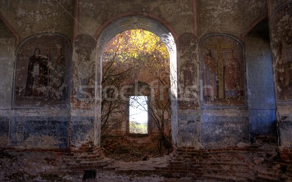 アーチ 教会 描いた 建物 光 芸術 ストックフォト © timbrk