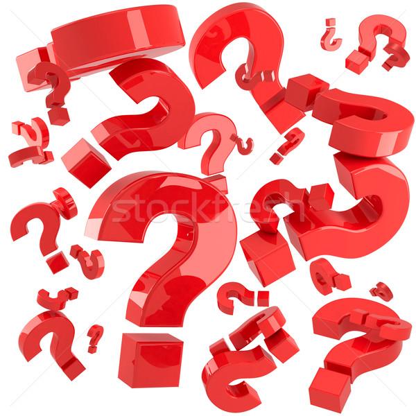 Kırmızı sorular soru işaretleri yalıtılmış beyaz bilgisayar Stok fotoğraf © timbrk