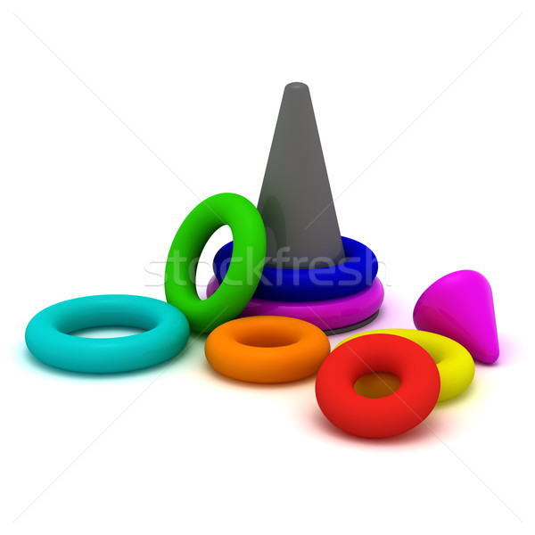 пирамида кольцами игрушку компьютер ребенка Сток-фото © timbrk