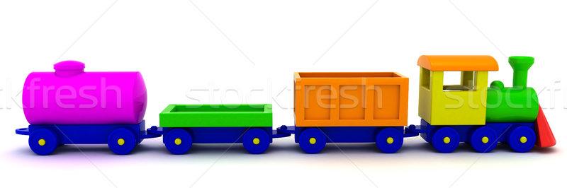 Giocattolo treno isolato bianco bambino divertimento Foto d'archivio © timbrk