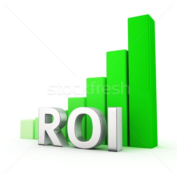 Növekedés roi növekvő zöld oszlopdiagram fehér Stock fotó © timbrk