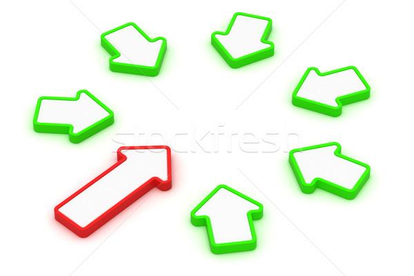 круга Стрелки один красный шесть зеленый Сток-фото © timbrk